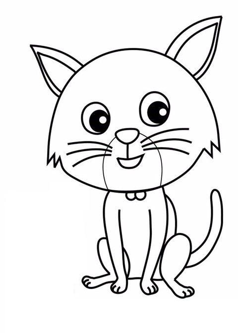 Tranh tô màu con mèo đơn giản