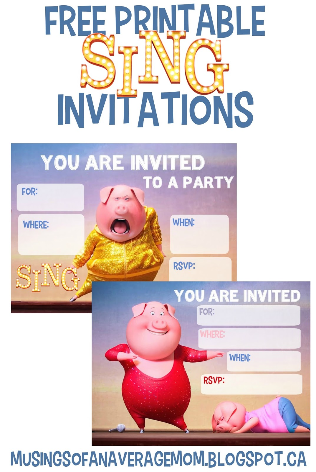 Musings of an Average Mom: Sing Movie Invitations