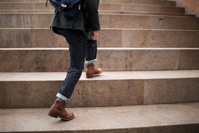 red wing blacksmith boots in rough and tough leather with albam jeans