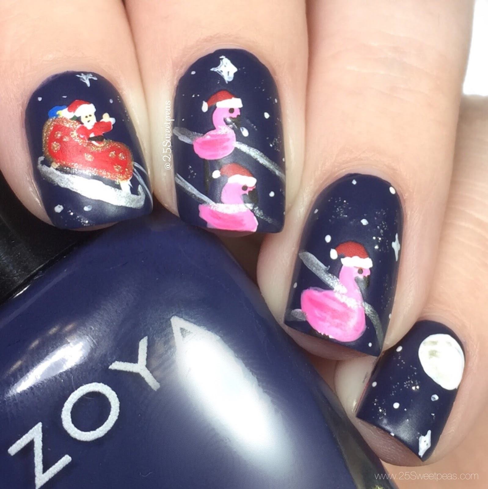 Flamingo Christmas Nail Art