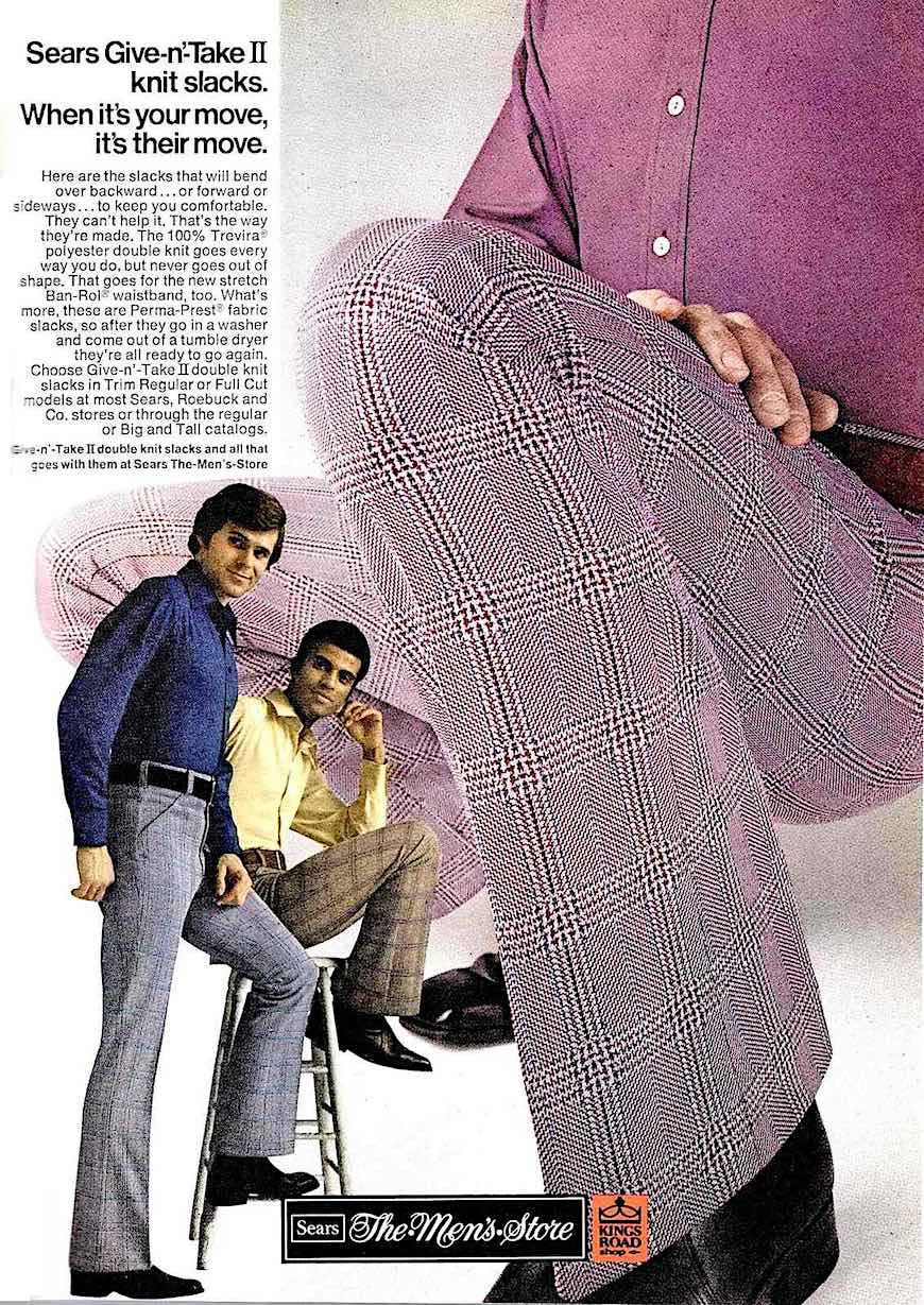 SEARS 1972 men's fashion, synthetic stretchable knitwear, a color photograph