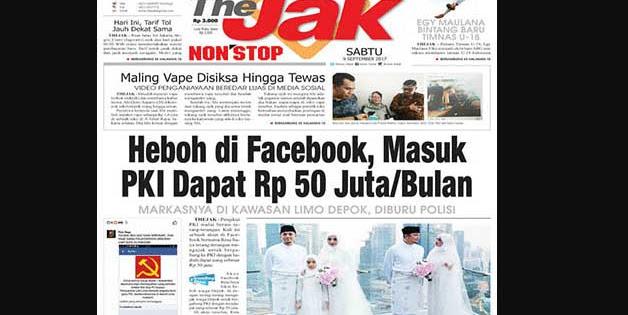 GEGER di Facebook, Masuk PKI dapat Dana Rp 50 Juta/bulan