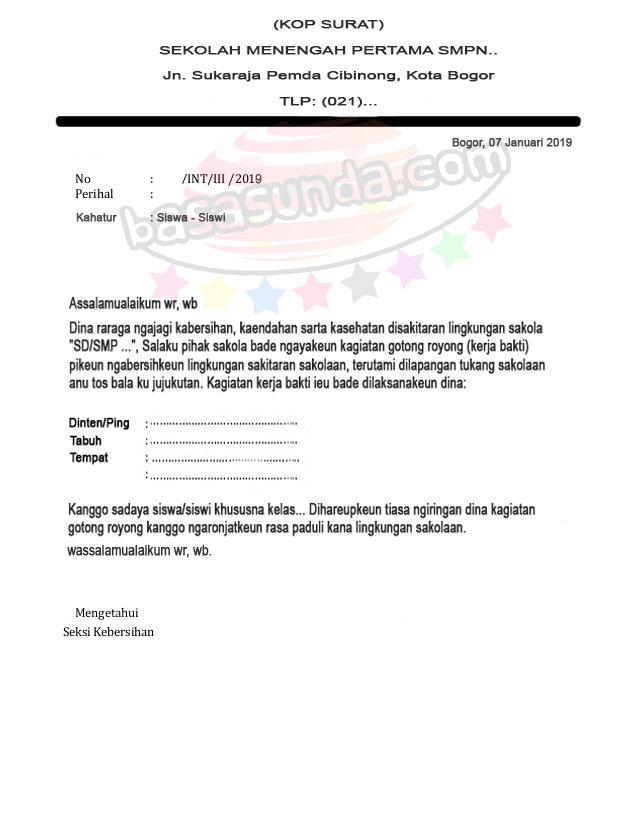 Contoh Surat Resmi Bahasa Sunda Wacana Kerja Bakti Atau