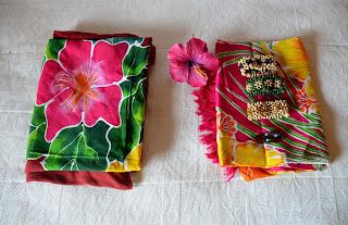 cook island trip souvenirs sarong bracelet flowers