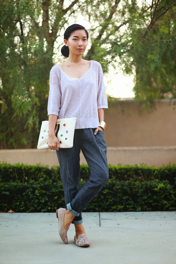 Stephanie Liu of Honey & Silk wearing Left on Houston sweater, Piper Gore pants, and Sam Edelman flats.