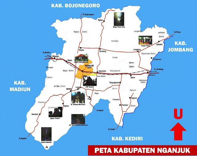 Gambar Peta Kabupaten Nganjuk Lengkap 20 Kecamatan