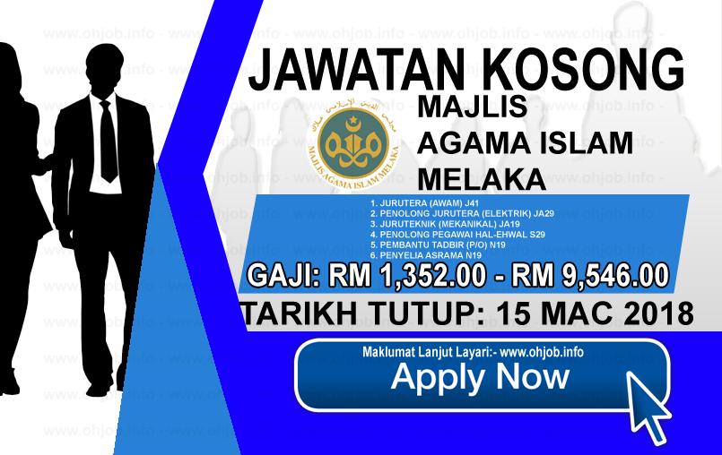 Jawatan Kerja Kosong Majlis Agama Islam Melaka - MAIM logo www.ohjob.info mac 2018