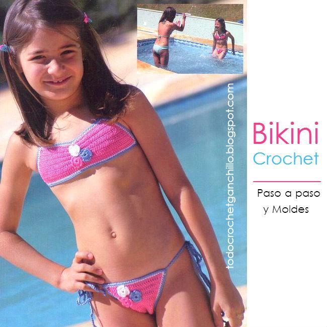 moldes y patrón de bikini de niña tejida al crochet