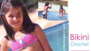 Bikini rosa para niña tejida al crochet / Paso a paso