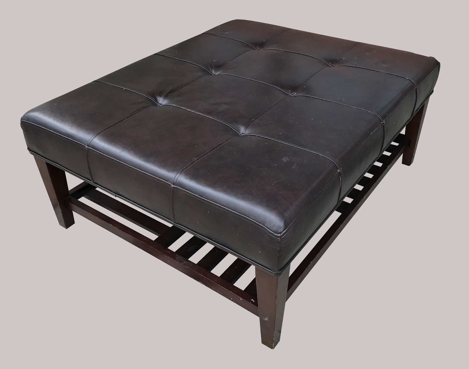 uhuru furniture collectibles large leather ottoman with. Black Bedroom Furniture Sets. Home Design Ideas