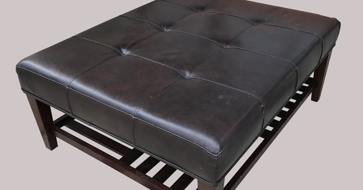 Uhuru Furniture Collectibles Large Leather Ottoman With Storage Shelf 95 Sold
