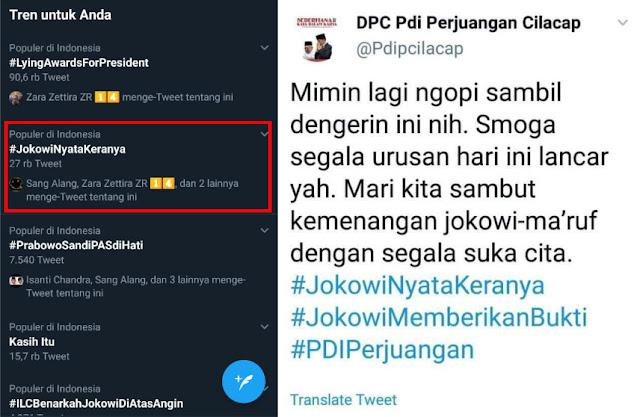 Tagar #JokowiNyataKeranya Trending di Twitter, Akun PDIP Cilacap Minta Maaf