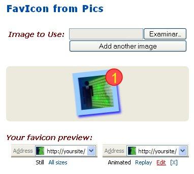 Sube la imagen para Favicon