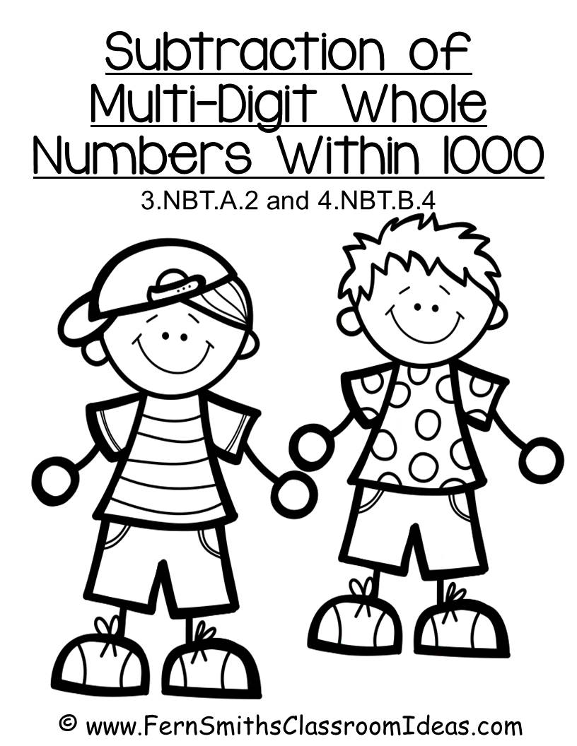 Quick and Easy Center and Printables - Subtraction Multi-Digit Numbers to 1000