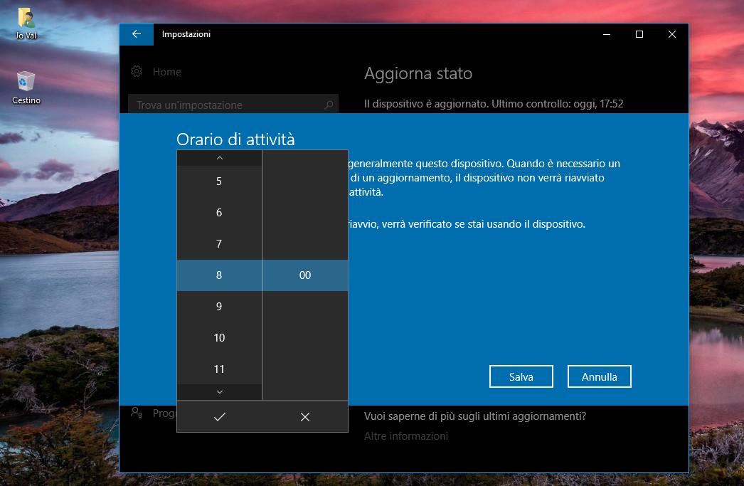 Modifica orario di attività Windows 10