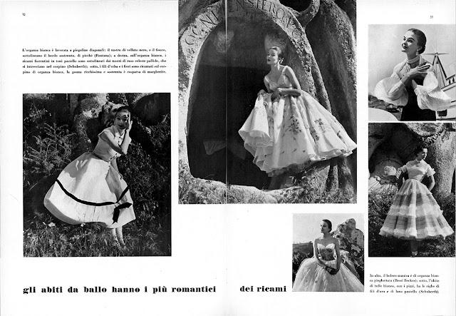 Gli abiti da ballo hanno i più romantici dei ricami - Abiti da Ballo nel Parco dei Mostri di Bomarzo - Modelli Fontana e Schubert - La donna, Luglio 1953