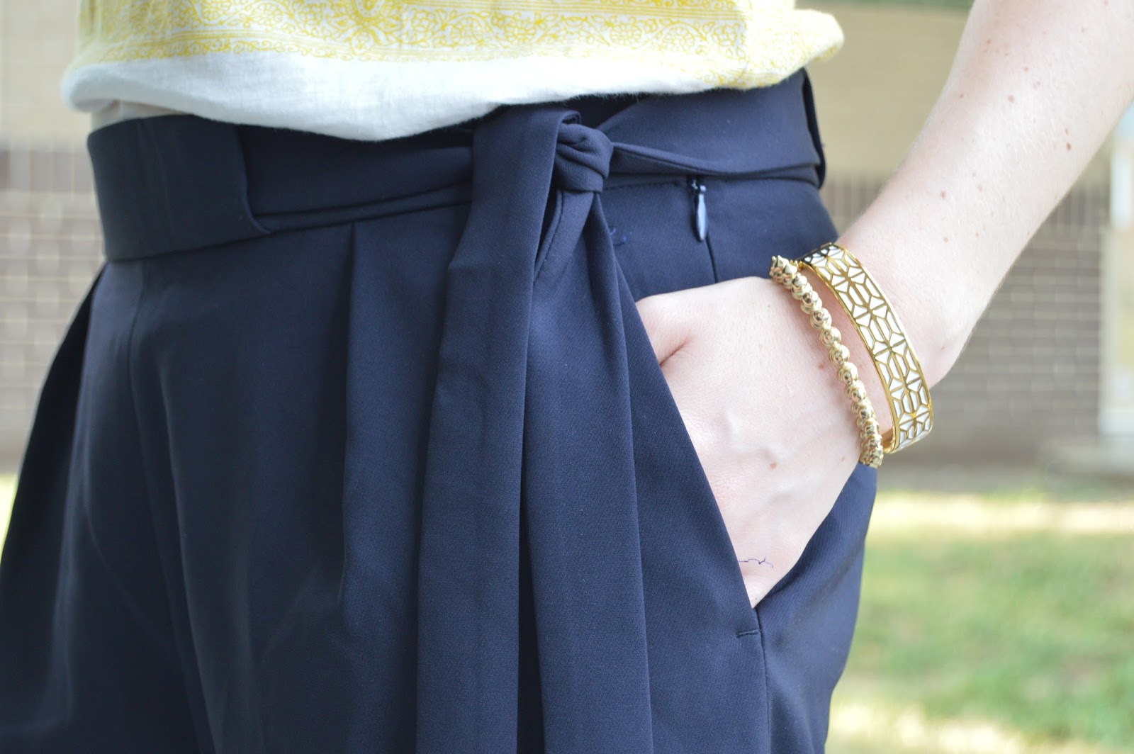 gold arm party stack | navy shorts  | gold jewelry | a memory of us | kansas city fashion blog | arm party ideas | spiked gold bracelet |