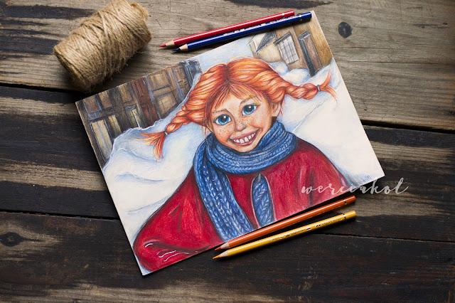 Pippi- rysunek kredkami Polychromos