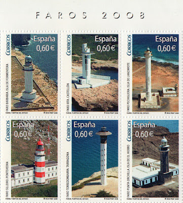 Sellos de la Hoja Bloque de Faros 2008