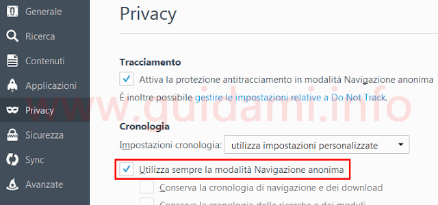 Firefox finestra opzioni Privacy