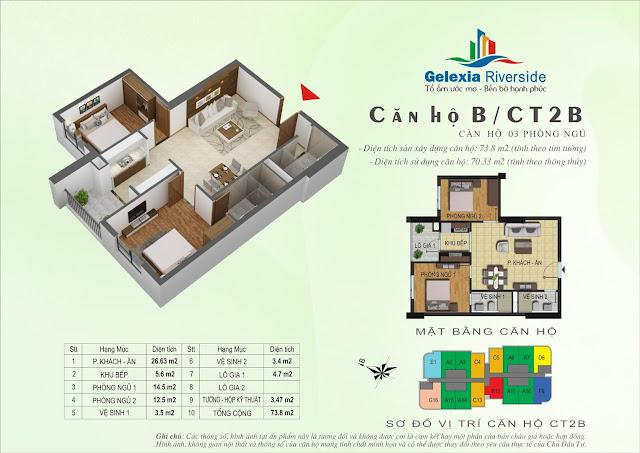 Mặt bằng thiết kế căn hộ B, CT2B Gelexia Riverside