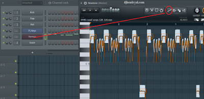 Cara convert loop samples melody ke piano - step Fl 12, copy midi