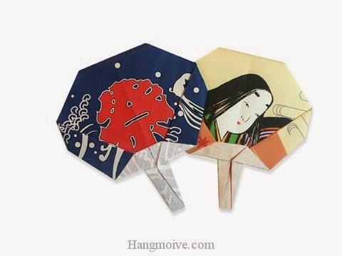 Cách gấp, xếp cái Quạt bằng giấy origami - Video hướng dẫn xếp hình đồ thời trang - How to fold a Fan paper