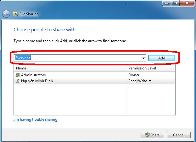 Cách chia sẻ dữ liệu - share file qua mạng LAN