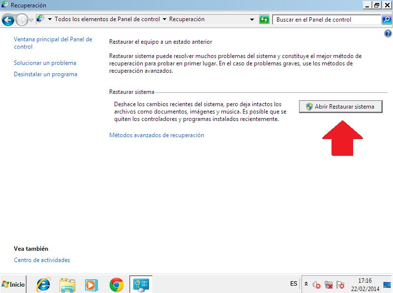 restaurar sistema en windows 7