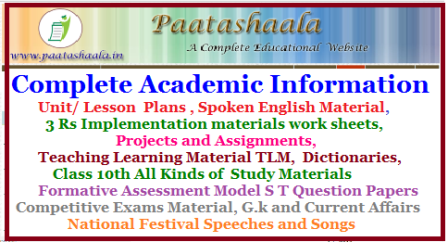 School Level Complete Academic Information from Classes 1st to 10th Model Unit cum Lesson Plans for Telugu English Hindi Maths Download Here | Teaching Learning Material TLM for Telugu Maths Telugu English | Project Works for All Classes | Download LEP Practice Books for Telugu Here for Primary Upper Primary and High School | Assignments and Project works Download Here| Class 10th All Subjects study Materials | Spoken English Materials Download | All Formative Assessment Question Papers ( FA) for Telugu Hindi English Mathematics Science and Social |Complete Academic Information Unit/ Lesson Plans , Spoken English Material, 3 Rs Implementation materials work sheets, Projects and Assignments, Teaching Learning Material TLM, Dictionaries, Class 10th All Kinds of Study Materials Formative Assessment Model S T Question Papers Competitive Exams Material, G.k and Current Affairs National Festival Speeches and Songs lep-3rs-practice-books-fa-question-papers-lesson-plans-tlm-project-works--assignments-latest-current-affairs-spoken-english-books-competitive exam-materials-download/2017/07/lep-3rs-practice-books-fa-question-papers-lesson-plans-tlm-project-works--assignments-latest-current-affairs-spoken-english-books-competitive-exam-materials-download.html