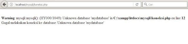 gagal melakukan koneksi database