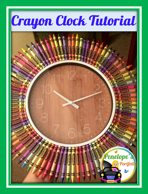 A colorful and creative clock made out of crayons glued to to the outside of it