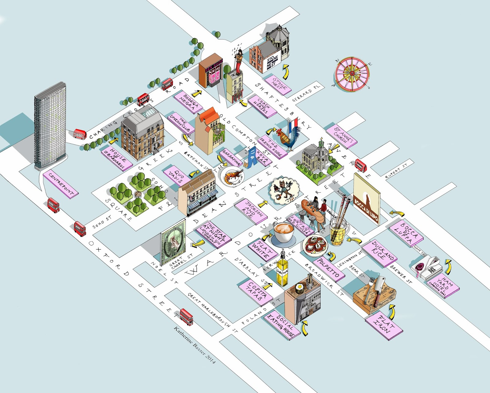 Map Soho London.Katherine Baxter Illustrator Map Of Soho London