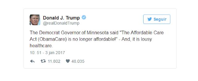 Trump reitera a sua intenção de eliminar o Obamacare