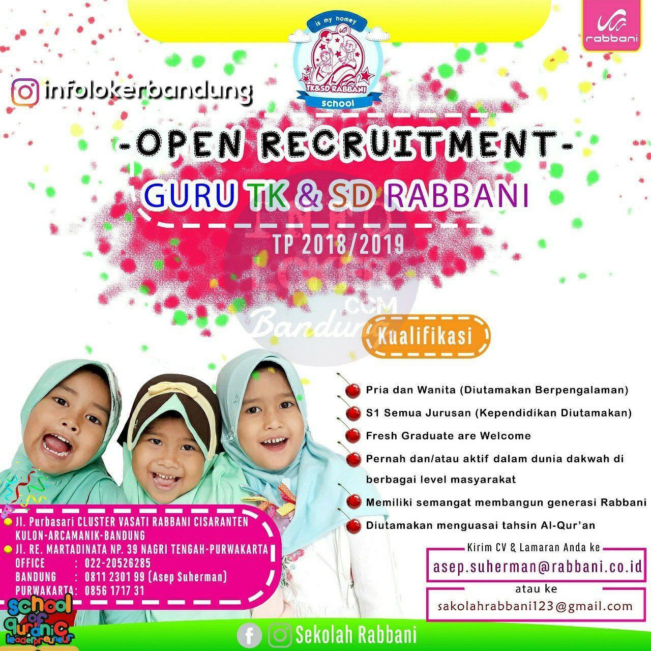 Lowongan Kerja Sekolah Rabbani Bandung April 2018