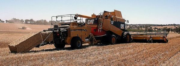 Efficient: the award-winning Glenvar Bale Direct system bales behind a compact harvester.