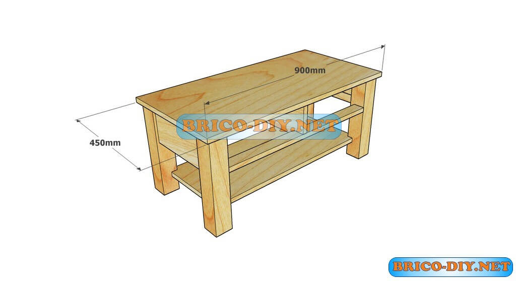 Plano como hacer mesa de centro madera web del bricolaje for Dimensiones mesa de trabajo