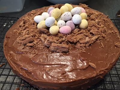 Chocolate Orange Easter Nest Cake with Cadbury's mini eggs