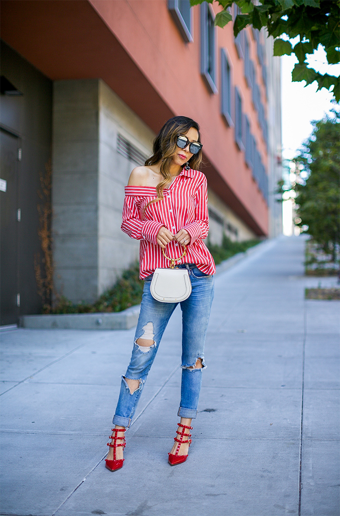 topshop stripe off shoulder top, off shoulder asymmetric top, stripe top, quay mirrored sunglasses, chloe nile bag, blank denim jeans, baublebar earrings, valentino rock studs heels, san francisco fashion blog, san francisco street style, nordstrom anniversary sale, best sale 2017