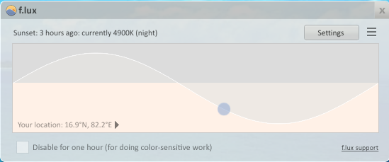 f.lux Color Temperature: Currently 4900K (night)