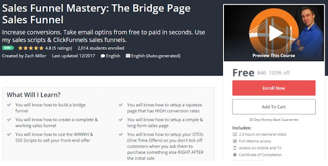 [100% Off] Sales Funnel Mastery: The Bridge Page Sales Funnel| Worth 40$