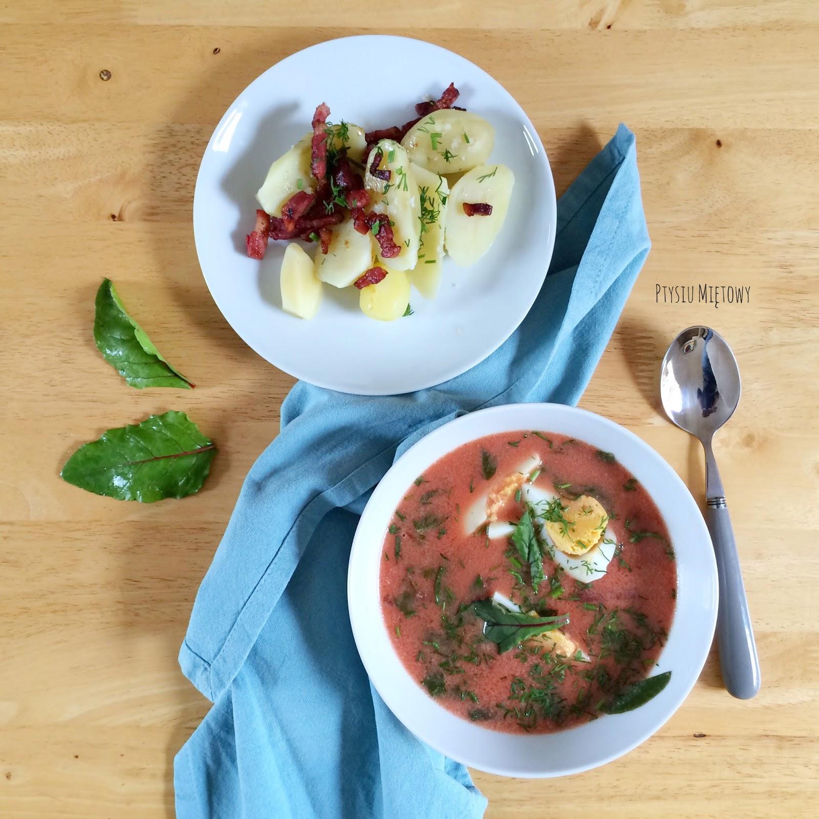 zupa, mlode buraki, ptysiu mietowy
