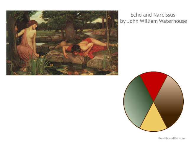 The Pre-Ralphaelite painting Echo and Narcissus by John William Waterhouse, and a color scheme taken from the painting