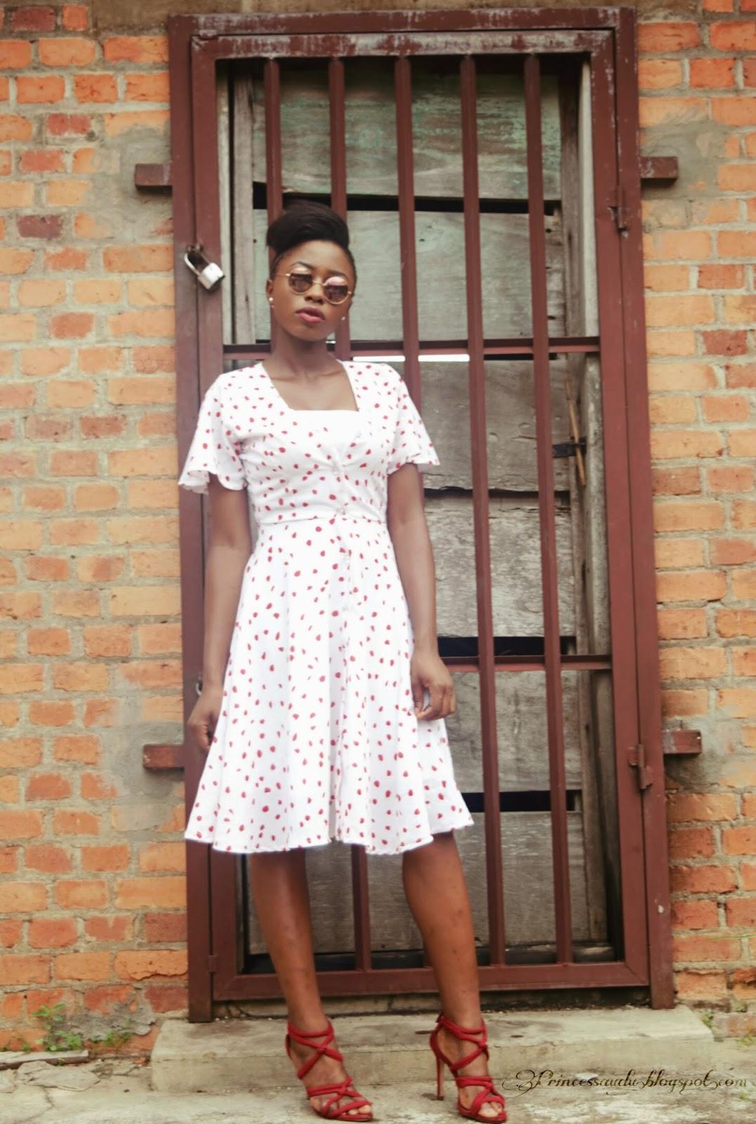 70s dress, polkadots, flare, zara, choies, vintage dress