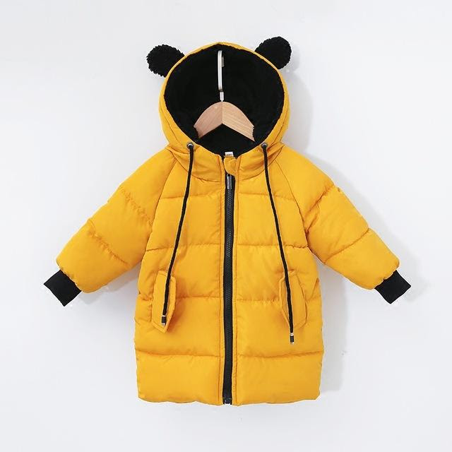 Kids Cotton Padded Hooded Parka with Animal Ears