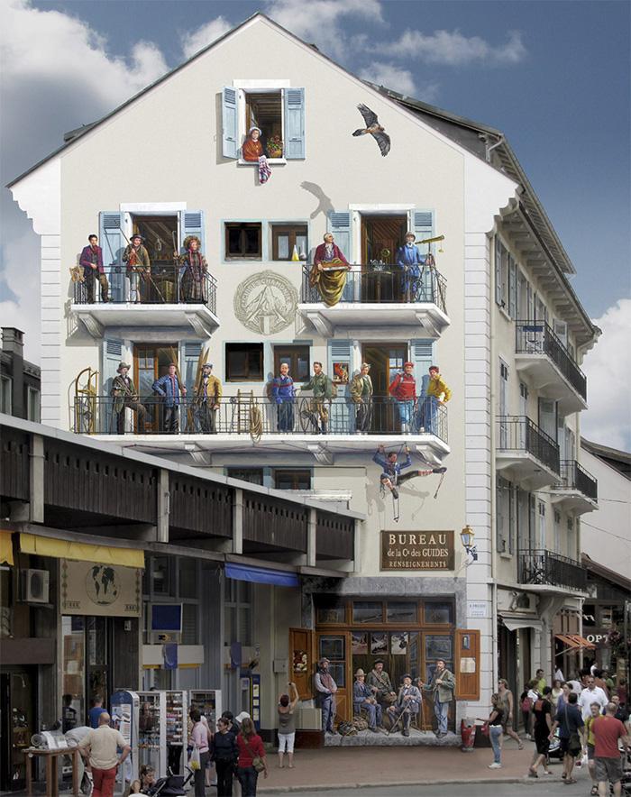 French Artist Transforms Boring City Walls Into Vibrant Scenes Full Of Life - Les guides de Chamonix