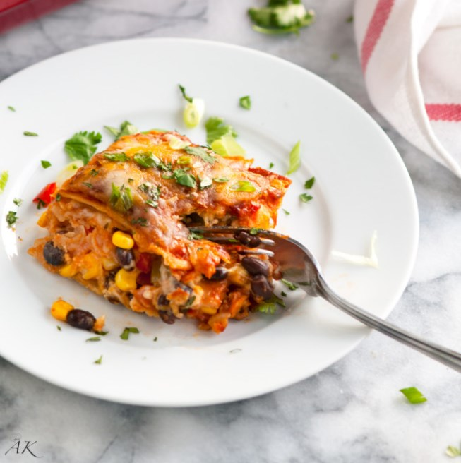 Vegetarian Black Bean Enchilada Casserole #enchilada #vegan