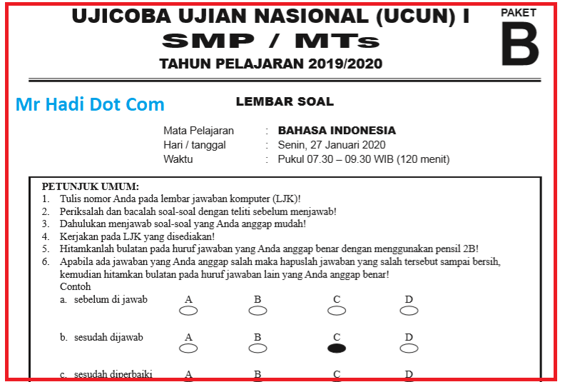 Soal UCUN I Bahasa Indonesia SMP Tahun 2020