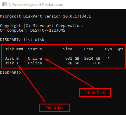 Format Your Pen Drive Using Command Line