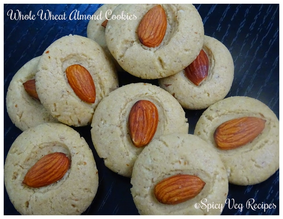 Whole Wheat Almond Cookies Recipes  Whole Wheat Almond Eggless Cookies ...